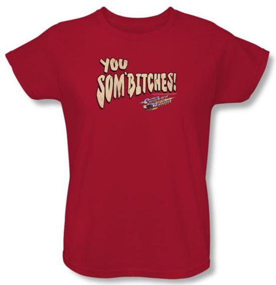 Smokey And The Bandit Ladies T-shirt Movie Sombitch Red Tee Shirt