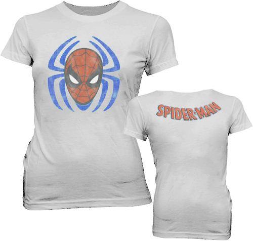 Spider-Man Sense Spider Face Distressed Cement Gray Juniors T-shirt