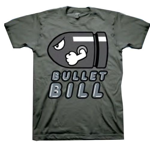 Nintendo Bullet Bill Charcoal Adult T-shirt