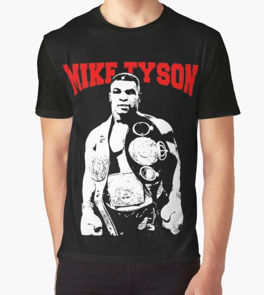 Mike Tyson With Trophy Graphic T-Shirt by createes T-Shirt