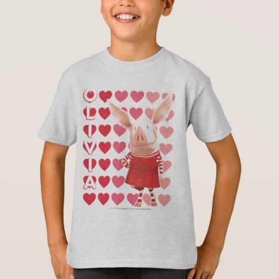 Olivia - Heart Background T-Shirt