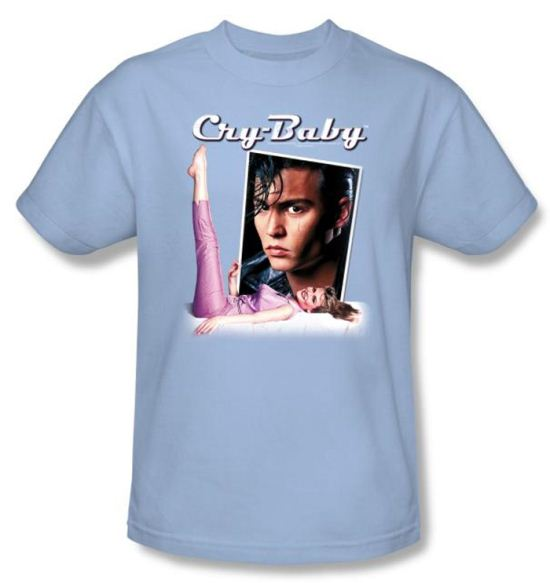 Cry Baby T-shirt Movie Title Adult Light Blue Tee Shirt