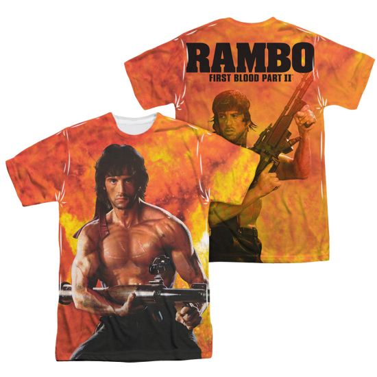 Rambo First Blood II Fire Sublimation Shirt Front/Back Print