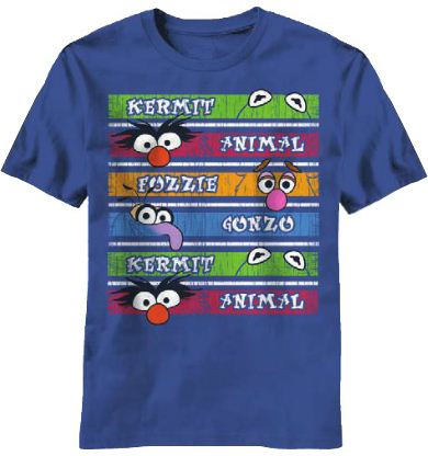 The Muppets Character Stripes Adult Navy T-shirt