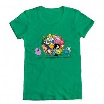 Adventure Time Group Roll Ball Juniors Green T-shirt