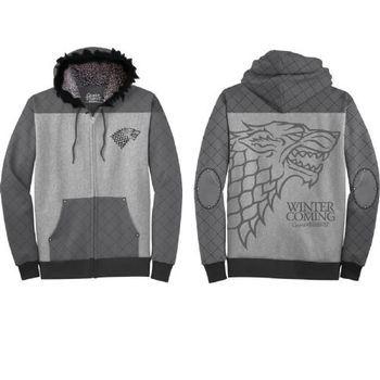 Game of Thrones Winter Is Coming Stark Adult Zip Up Hoodie Sweatshirt