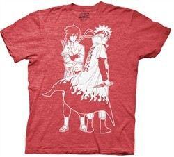 Naruto Shippuden Shirt Naruto & Sasuke Outline Adult Heather Red Tee