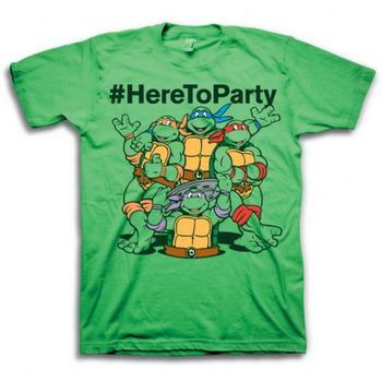 5b453a94 ... Teenage Mutant Ninja Turtle #HereToParty Hashtag Here To Party Adult  Green T-Shirt