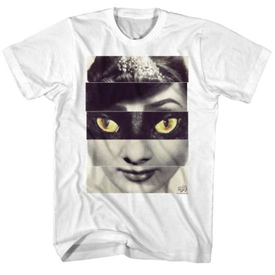 Audrey Hepburn Shirt Cat Eyes White Tee T-Shirt