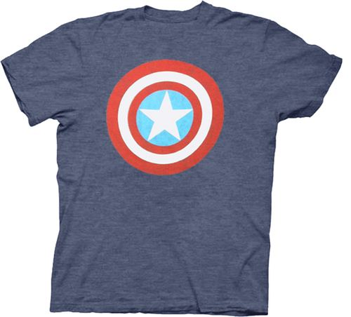 Captain America Distressed Shield Light Heather Navy Mens T-shirt