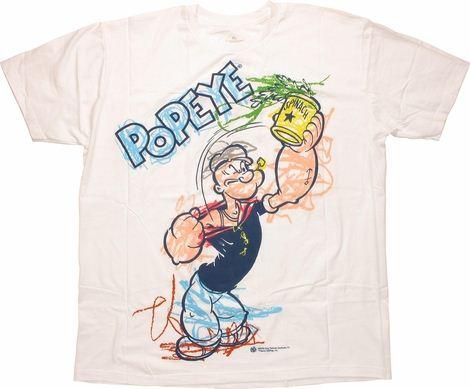 Popeye Crayon Coloring T Shirt Sheer