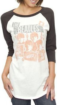 Junk Food The Beatles Vintage All American Raglan Juniors T-shirt