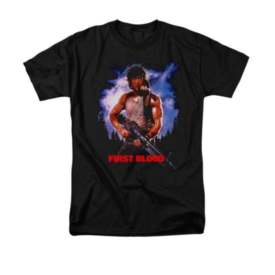 Rambo First Blood Shirt Poster Adult Black Tee T-Shirt