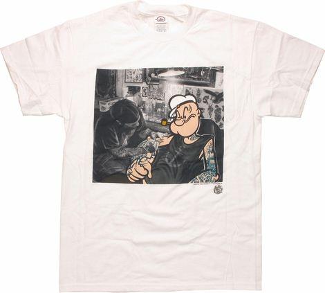 Popeye Tattoo Shop White T Shirt