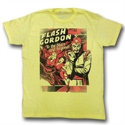 Flash Gordon Shirt To The Stars Adult Yellow Tee T-Shirt
