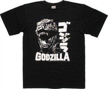 Godzilla Face White on Black T-Shirt