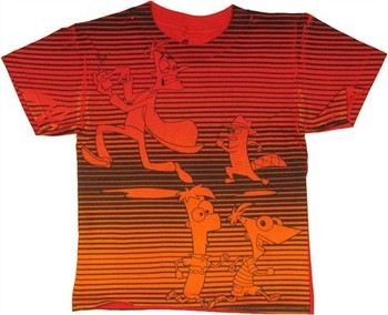 Phineas and Ferb Chase Scene Stripes Juvenile T-Shirt