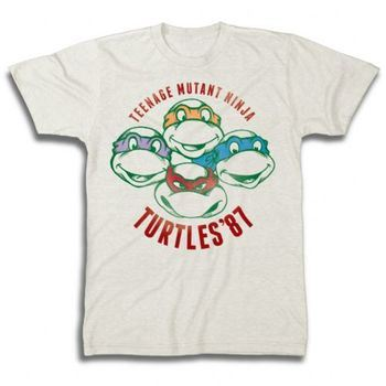 TMNT Teenage Mutant Ninja Turtles '87 Faces Adult Beige T-Shirt