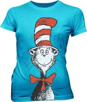 Dr. Seuss Oversized Cat in the Hat Turquoise Blue Juniors T-shirt