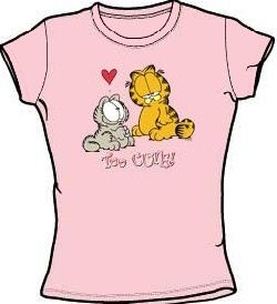 e78ae887 ... Garfield TOO CUTE Juniors Size Fitted Girly T-shirt Tee Shirt