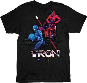 Tron Battle Grid Black Adult T-shirt