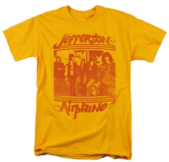 Jefferson Airplane Shirt Group Photo Adult Gold Tee T-Shirt