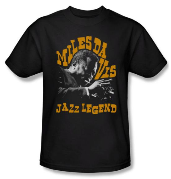 Miles Davis Shirt Jazz Legends Adult Black Tee T-Shirt