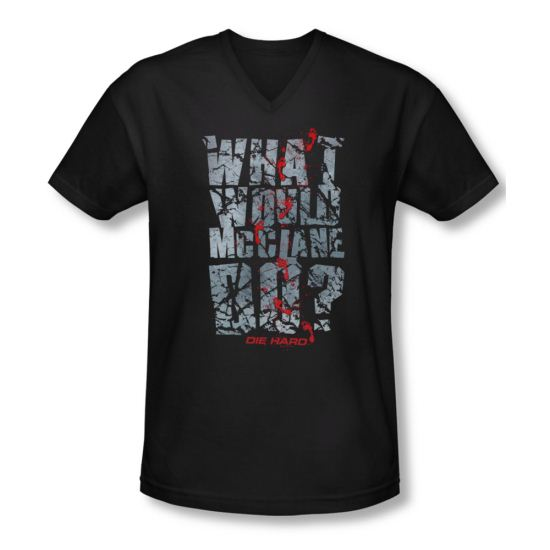 Die Hard Shirt Slim Fit V Neck WWMD Black Tee T-Shirt