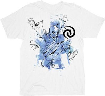 The Last Airbender Blue Aang White Adult T-Shirt