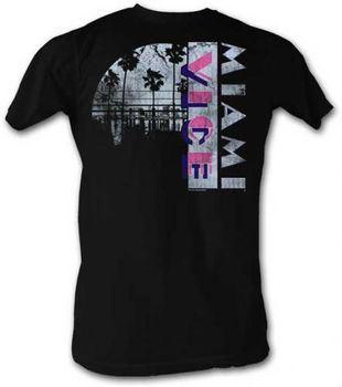 Miami Vice Broken Clouds Logo Adult Black T-shirt