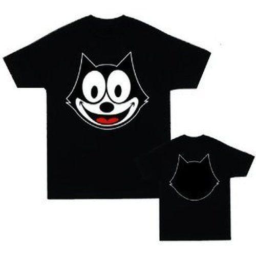 Felix the Cat Face Outline Black T-shirt