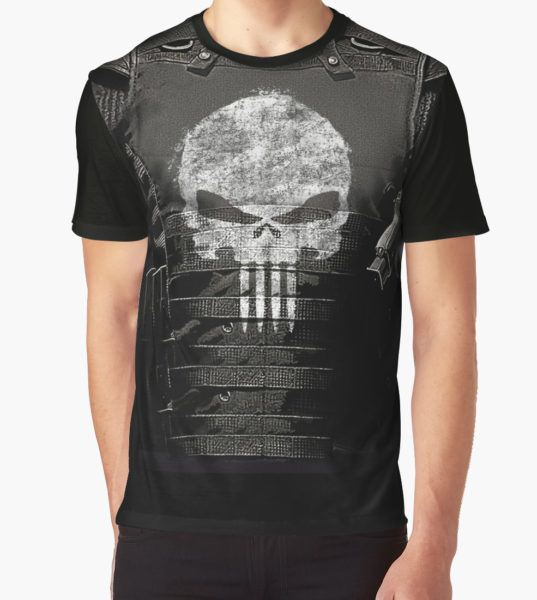 The Punisher Vest Graphic T-Shirt by GoBotGraphics T-Shirt