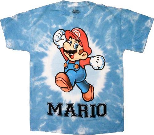 Nintendo Mario Cheer White Dyed Blue Mens T-shirt