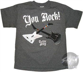 Guitar Hero You Rock Gray Youth T-Shirt