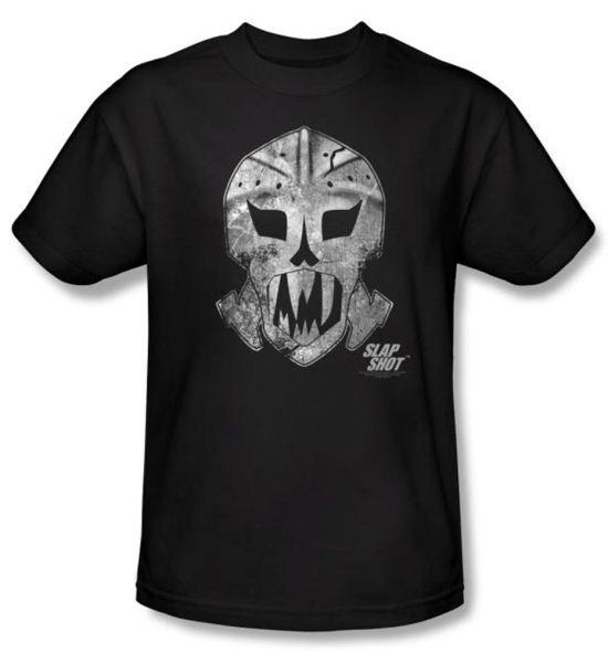 Slap Shot T-shirt Hockey Movie Goalie Mask Adult Black Tee Shirt