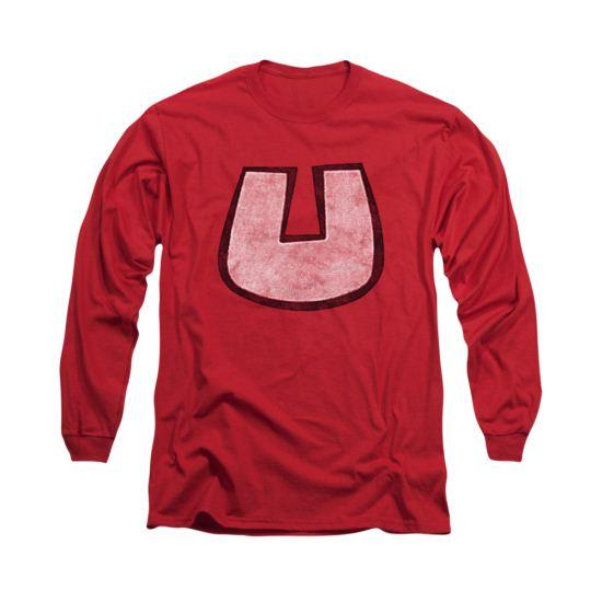 Underdog Shirt U Crest Long Sleeve Red Tee T-Shirt