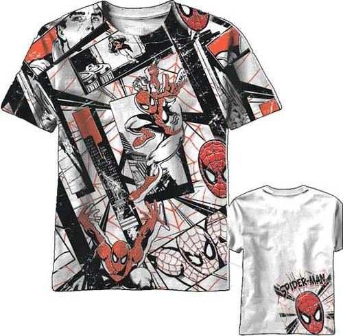 Spider-Man Red All-Over Belt Print White Mens T-Shirt