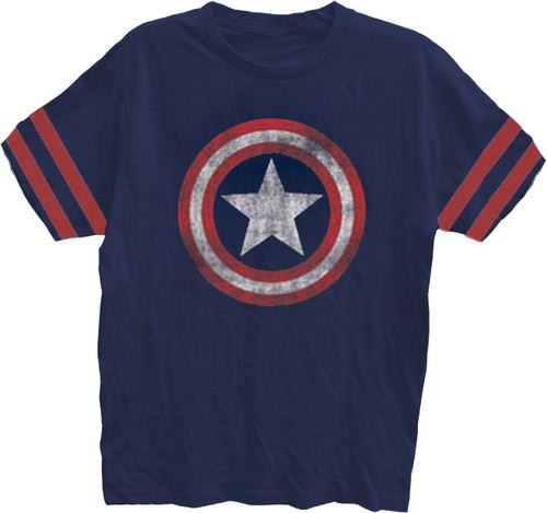 Captain America Distressed Shield Navy Striped Sleeves Mens T-shirt