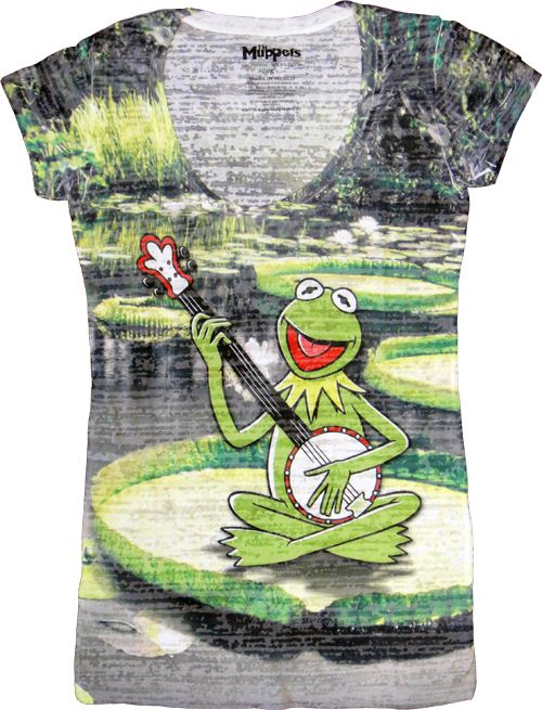 The Muppets Kermit the Frog Banjo Pond White Sumblimation Burnout Juniors T-shirt