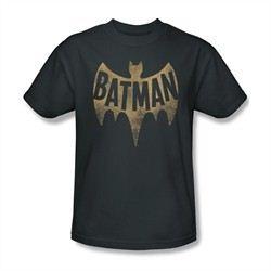 Classic Batman Shirt Distressed Logo Charcoal T-Shirt