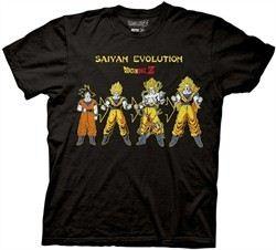 Dragonball Z Shirt Saiyan Evolution Adult Black Tee T-Shirt