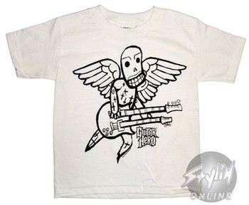 Guitar Hero Black and White Sketch Juvenile T-Shirt