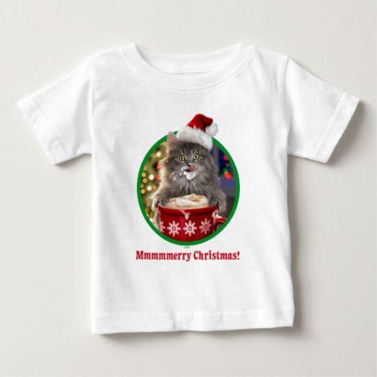 Cute Christmas Hot Cocoa Kitty Baby T-Shirt