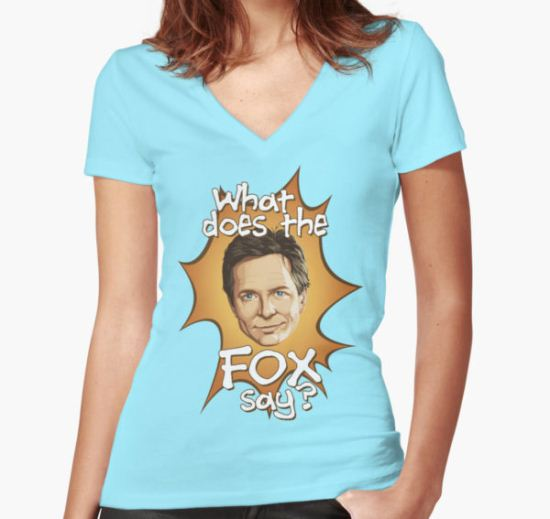 What Does The Michael J Fox Say? Women's Fitted V-Neck T-Shirt by VanHogTrio T-Shirt