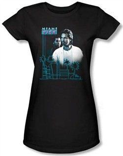 Miami Vice Juniors T-shirt Looking Out Black Tee Shirt