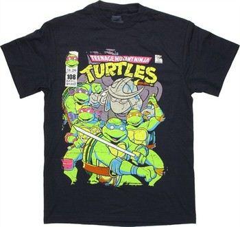 Teenage Mutant Ninja Turtles Vintage Comic Cover Navy T-Shirt