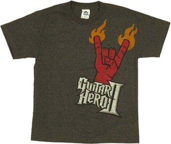 Guitar Hero Flaming Devil Horns Youth T-Shirt