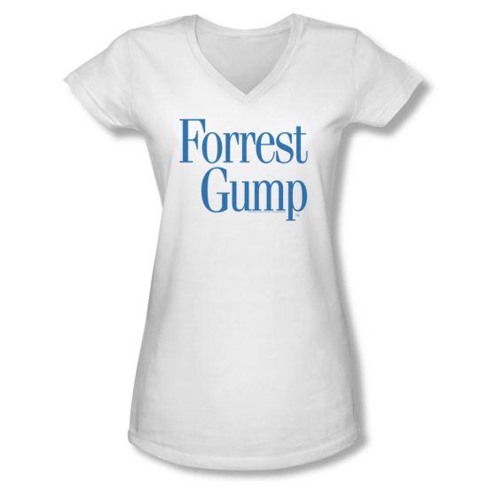 Forrest Gump Shirt Juniors V Neck Logo White Tee T-Shirt