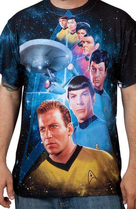 Star Trek Sci-Fi Enterprise Captain/'s Through Time Adult 2-Sided Print T-Shirt
