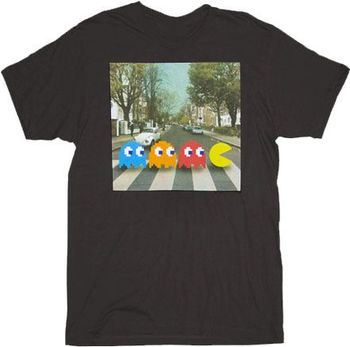 Pac-man Crossing Beatles Abbey Road Black Adult T-shirt